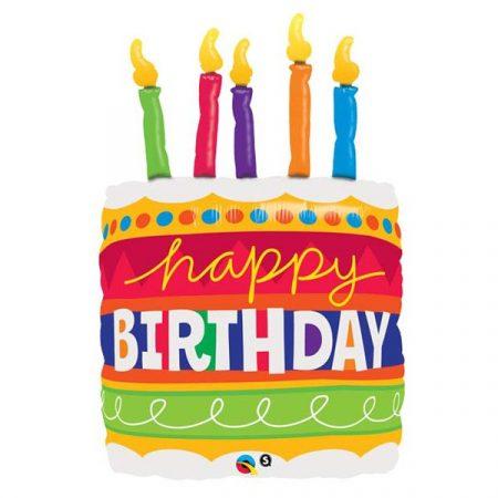 89 cm-es színes torta Happy Birthday! Super Shape fólia lufi
