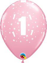 28 cm-es 1-es csillagos pink latex lufi, 6 db/csomag