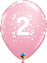 28 cm-es 2-es csillagos pink latex lufi, 6 db/csomag