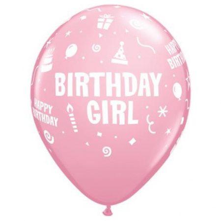 28 cm-es rózsaszín Birthday Girl lufi, 6 db/csomag