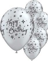 28 cm-es Happy Birthday ezüst színű gumi lufi, 6 db/csomag