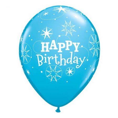 28 cm-es Happy Birthday kék lufi, 6 db/csomag