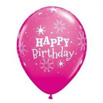 28 cm-es Happy Birthday vadmálna rózsaszín lufi, 6 db/csomag