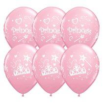 28 cm-es pink hercegnős lufi, 6 db/csomag