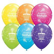 28 cm-es Happy Birthday lufi tortával, 6 db/csomag
