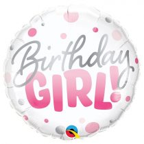 46 cm-es rózsaszín pöttyös Birthday Girl! fólia lufi