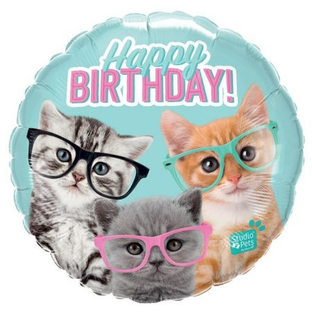 46 cm-es szemüveges cicás Happy Birthday fólia lufi