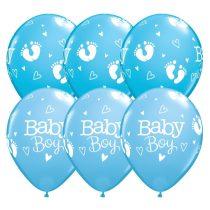 28 cm-es Baby Boy kék lufi, 25 db/csomag
