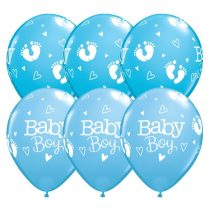 28 cm-es Baby Boy kék lufi, 6 db/csomag