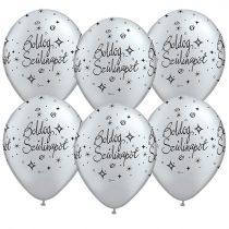 28 cm-es Boldog Szülinapot ezüst színű gumi lufi, 25 db/csomag