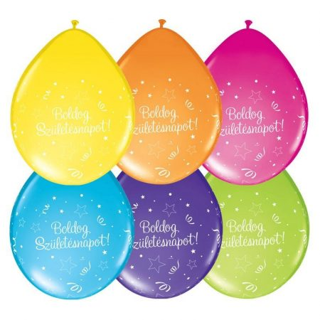 28 cm-es Boldog Születésnapot színes gumi lufi, 6 db/csomag