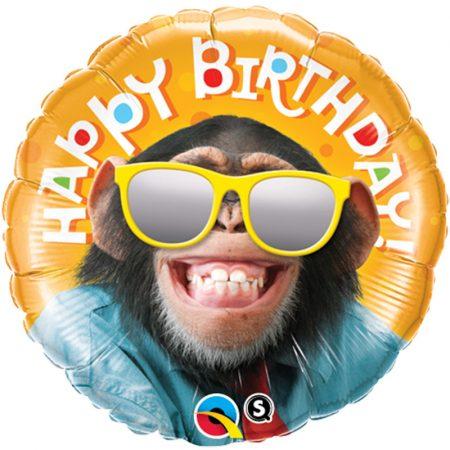 46 cm-es majmos Happy Birthday fólia lufi