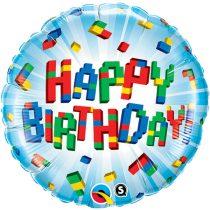 46 cm-es építőkockák Happy Birthday fólia lufi