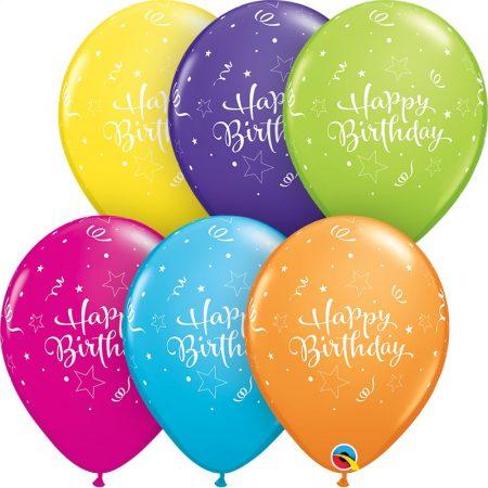 28 cm-es Happy Birthday lufi vegyes színekben, 25 db/csomag
