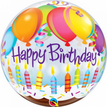 56 cm-es lufis Happy Birthday Bubble lufi
