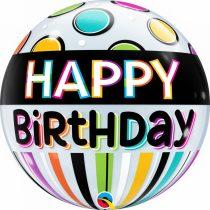 56 cm-es csíkos-pöttyös Happy Birthday Bubble lufi