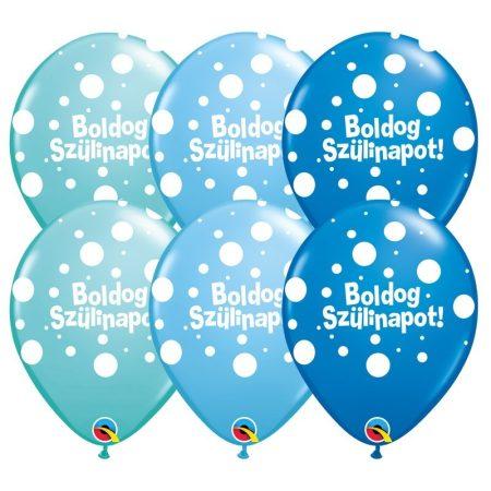 28 cm-es Boldog Szülinapot lufi fiús színben, 25 db/csomag