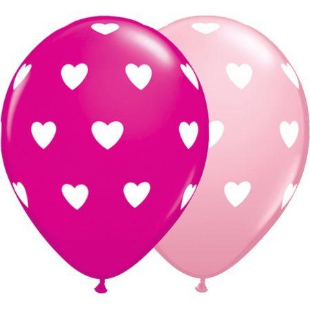 28 cm-es pink és vadmálna színű szívecskés gumi lufi, 6 db/csomag
