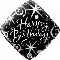46 cm-es elegáns Happy Birthday fólia lufi