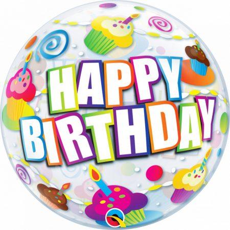56 cm-es sütis Happy Birthday Bubble lufi