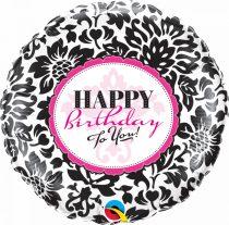 46 cm-es damaszk Happy Birthday fólia lufi