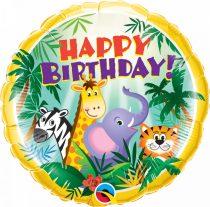 46 cm-es dzsungel állatos Happy Birthday fólia lufi