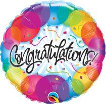 46 cm-es színes Congratulations fólia lufi