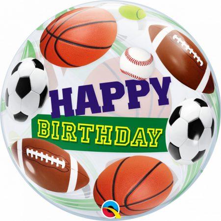56 cm-es sportlabdák Happy Birthday Bubble lufi