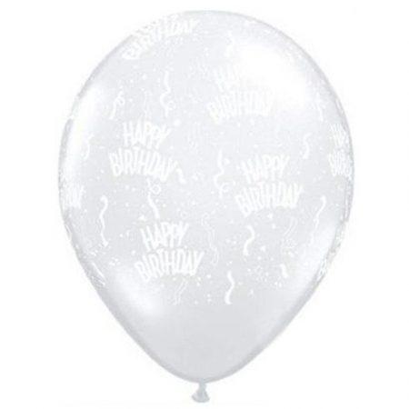 28 cm-es Boldog Születésnapot átlátszó lufi, 50 db/csomag