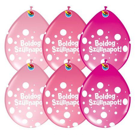 28 cm-es Neck up Boldog Szülinapot lufi lányos színben, 6 db/csomag
