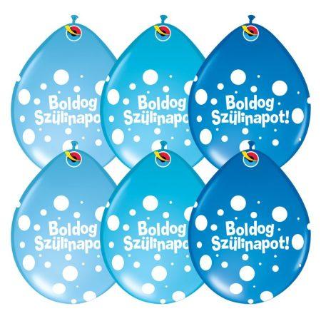28 cm-es Neck up Boldog Szülinapot lufi fiús színben, 25 db/csomag