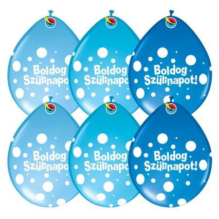 28 cm-es Neck up Boldog Szülinapot lufi fiús színben, 6 db/csomag