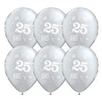 28 cm-es 25-ös szerpentin mintás ezüst metál színű latex lufi, 6 db/csomag