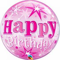 56 cm-es rózsaszín Happy Birthday fólia lufi