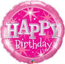 91 cm-es rózsaszín Happy Birthday fólia lufi