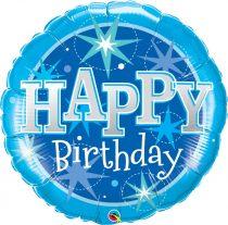 91 cm-es kék Happy Birthday fólia lufi