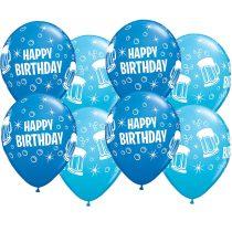 28 cm-es korsó mintás Happy Birthday gumi lufi kék színekben, 25 db/csomag