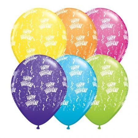 28 cm-es szerpentines lufi Happy Birthday felirattal, 25 db/csomag