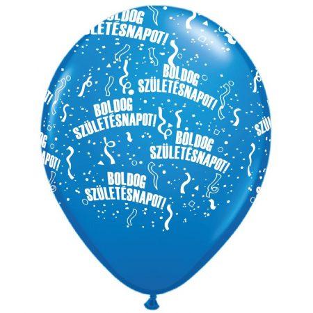 28 cm-es Boldog Születésnapot kék lufi, 25 db/csomag