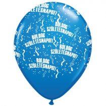 28 cm-es Boldog Születésnapot kék lufi, 6 db/csomag