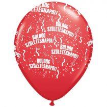 28 cm-es Boldog szülinapot gumi lufi piros, 25 db/csomag