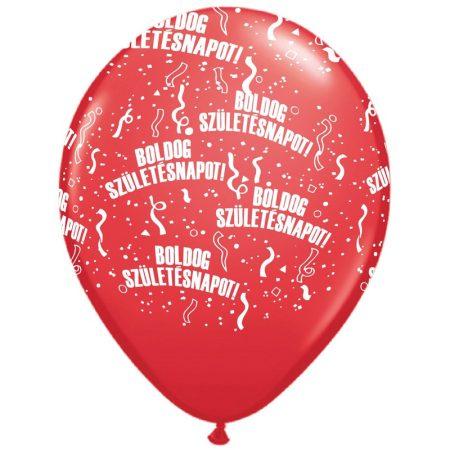 28 cm-es Boldog Születésnapot piros lufi, 25 db/csomag