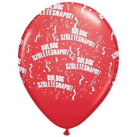 28 cm-es Boldog szülinapot gumi lufi piros, 6 db/csomag