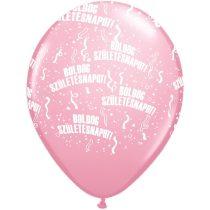 28 cm-es Boldog szülinapot gumi lufi rózsaszín, 6 db/csomag