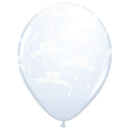 28 cm-es Boldog szülinapot gumi lufi fehér, 25 db/csomag