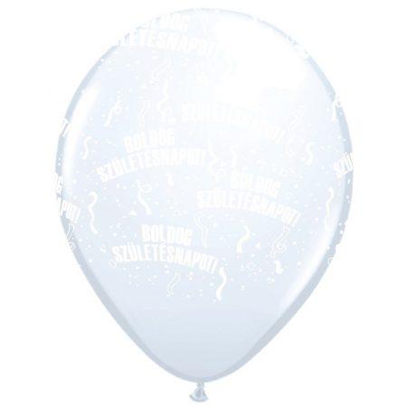 28 cm-es Boldog szülinapot gumi lufi fehér, 6 db/csomag