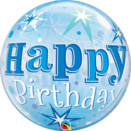 56 cm-es kék Happy Birthday fólia lufi