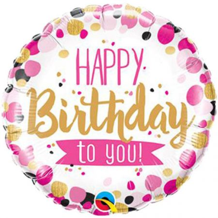 46 cm-es rózsaszín és arany Happy Birthday to you! fólia lufi