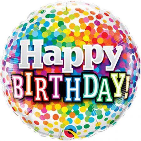 46 cm-es színes konfettis Happy Birthday! fólia lufi