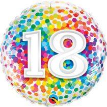 46 cm-es 18-as színes konfettis fólia lufi